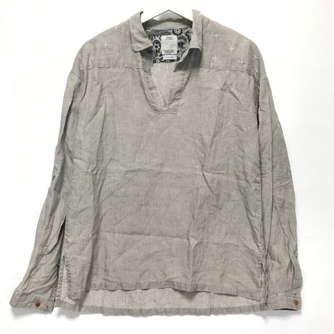 [S] VISVIM 14SS Kerchief Cross Stitch Tunic Shirt Linen Grey