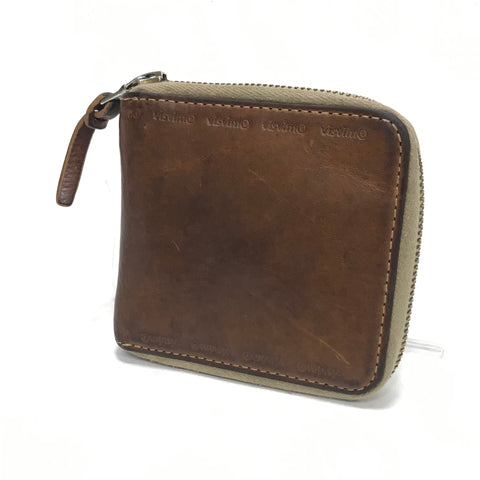 Visvim Leather Bi-Fold Zip Wallet Brown