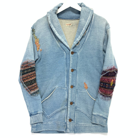 [S] Kapital Kountry Indigo Distressed Sweat Cardigan Jacket