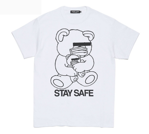 [M~XL] DS! Undercover Stay Safe Bear Mask COVID-19 Tee Shirt White