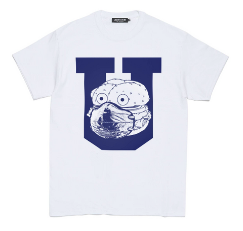 [M~XL] DS! Undercover Stay Home Burger Mask COVID Tee Shirt White