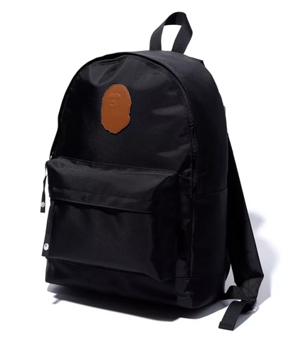 DS! A Bathing Ape Bape Leather Patch Nylon Day Pack Backpack Black