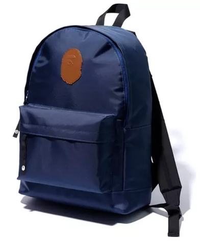 DS! A Bathing Ape Bape Leather Patch Nylon Day Pack Backpack Navy