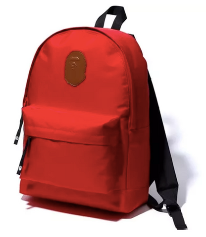 DS! A Bathing Ape Bape Leather Patch Nylon Day Pack Backpack Red