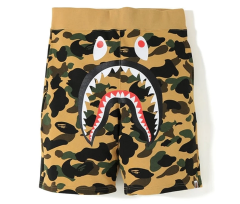 [M~2XL] DS! A Bathing Ape Bape 1st Camo Shark Sweat Shorts Yellow