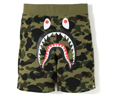 [M or L] DS! A Bathing Ape Bape 1st Camo Shark Sweat Shorts Green