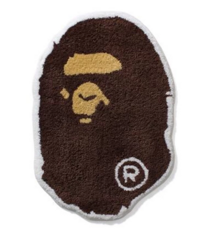 DS! A Bathing Ape Bape Head Rug Mat Brown
