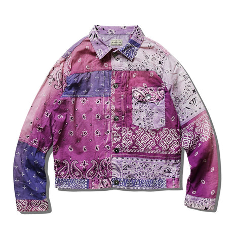 [2XL] Kapital Kountry Bandana Patchwork Pt 1st Shirt Jacket Light Purple