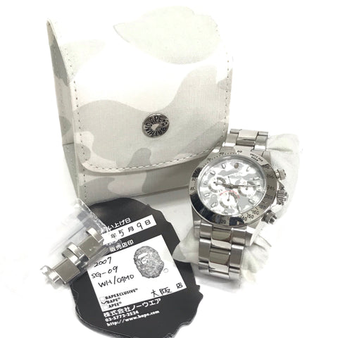 A Bathing Ape Bape Type 3 Camo 'Daytona' Bapex Watch Silver/White