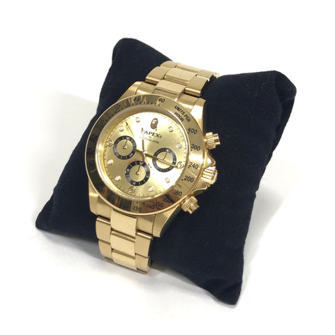 A Bathing Ape Bape Type 4 'Daytona' Bapex Watch Gold