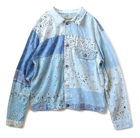 [2XL] Kapital Kountry Bandana Patchwork Pt 1st Shirt Jacket Light Blue