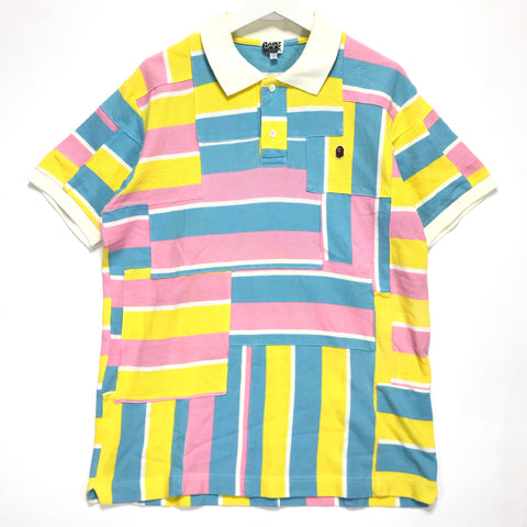 [L] A Bathing Ape Bape Bape Cotton Candy Patchwork Polo Shirt