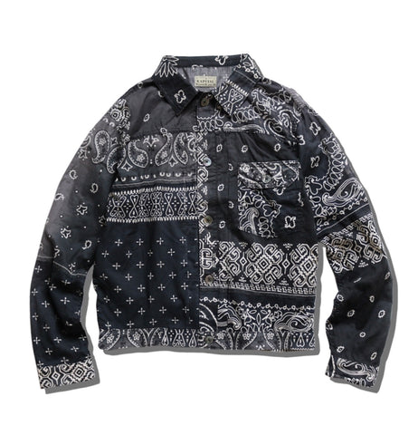 [2XL] Kapital Kountry Bandana Patchwork Pt 1st Shirt Jacket Black