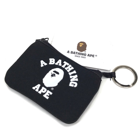 A Bathing Ape Bape College Logo Neoprene Card / Coin Case