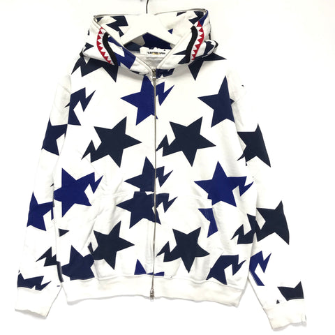 [M] A Bathing Ape Bape Sta Shark Hoodie White/Navy