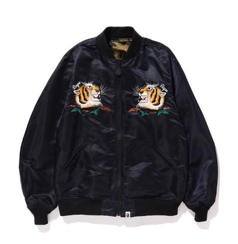 [L] DS! A Bathing Ape Bape Tiger 1st Camo Reversible MA-1 Bomber Jacket