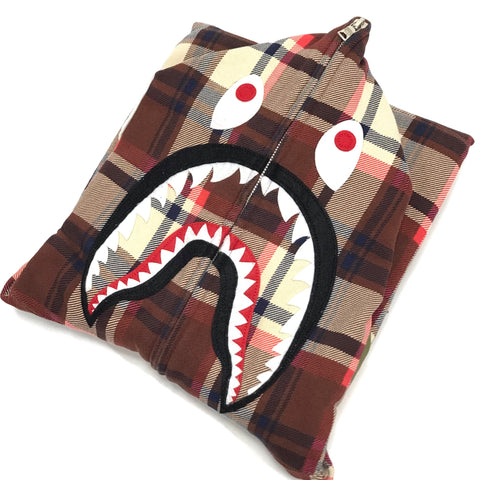 [M] A Bathing Ape Bape 15th Anniversary Plaid Ful Zip Shark Hoodie