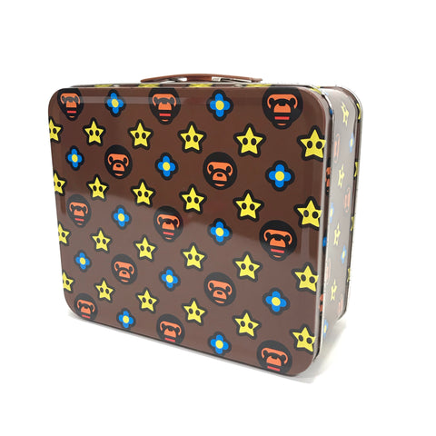 A Bathing Ape Baby Milo Mario Stars Metal Lunch Box Brown