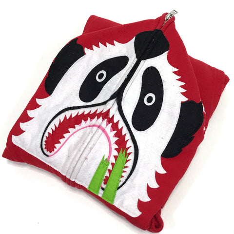 [M] A Bathing Ape Bape Full Zip Panda Hoodie Red