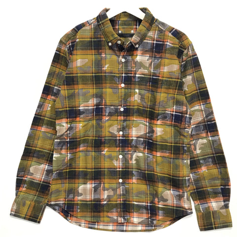[L] Sophnet Camo Check Overprint Flannel Shirt Yellow