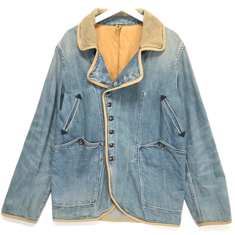 [L] Kapital Corduroy Collar Denim 9 Button Jacket