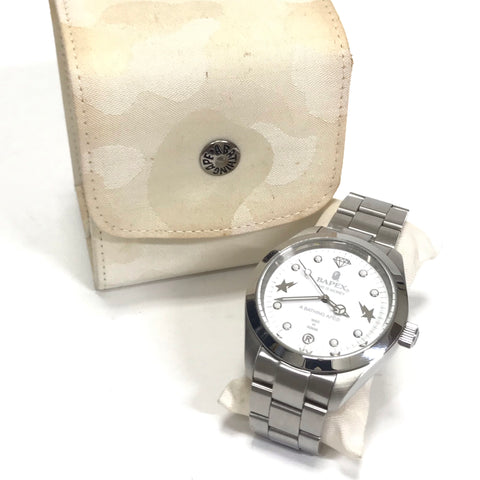 A Bathing Ape Bape Big Face Bapex Watch SIlver/White
