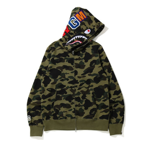 [M] DS! A Bathing Ape Bape 1st Camo WGM Shark Full Zip Hoodie Green