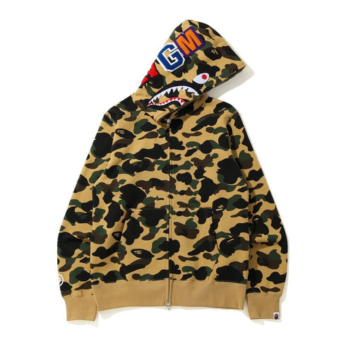 [XL] DS! A Bathing Ape Bape 1st Camo WGM Shark Full Zip Hoodie Yellow