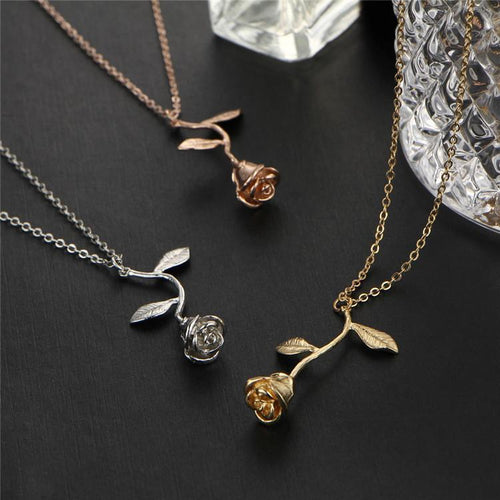 24k Gold Plated Rose Necklace - Aerosumo