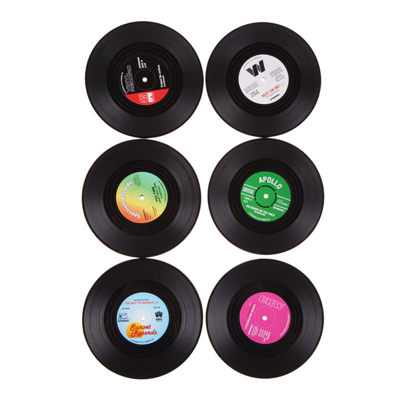 Vinyl Record Drinks Coasters 6 Pack - Aerosumo