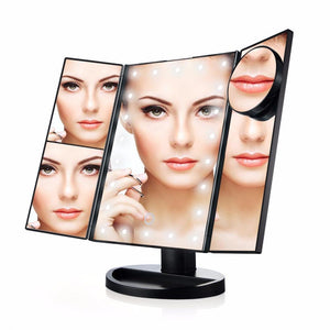 Foldable Triple-Panel LED Makeup Mirror - Aerosumo