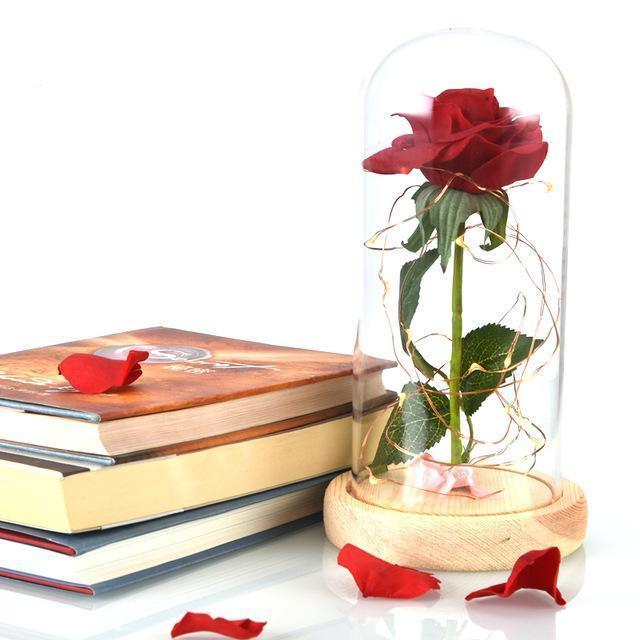Enchanted Wooden Red Rose Lamp - Aerosumo