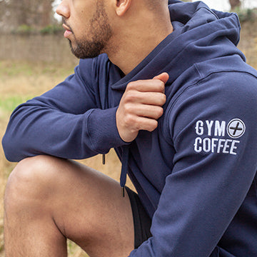 Men's Navy Pullover Hoodie by Gym+Coffee