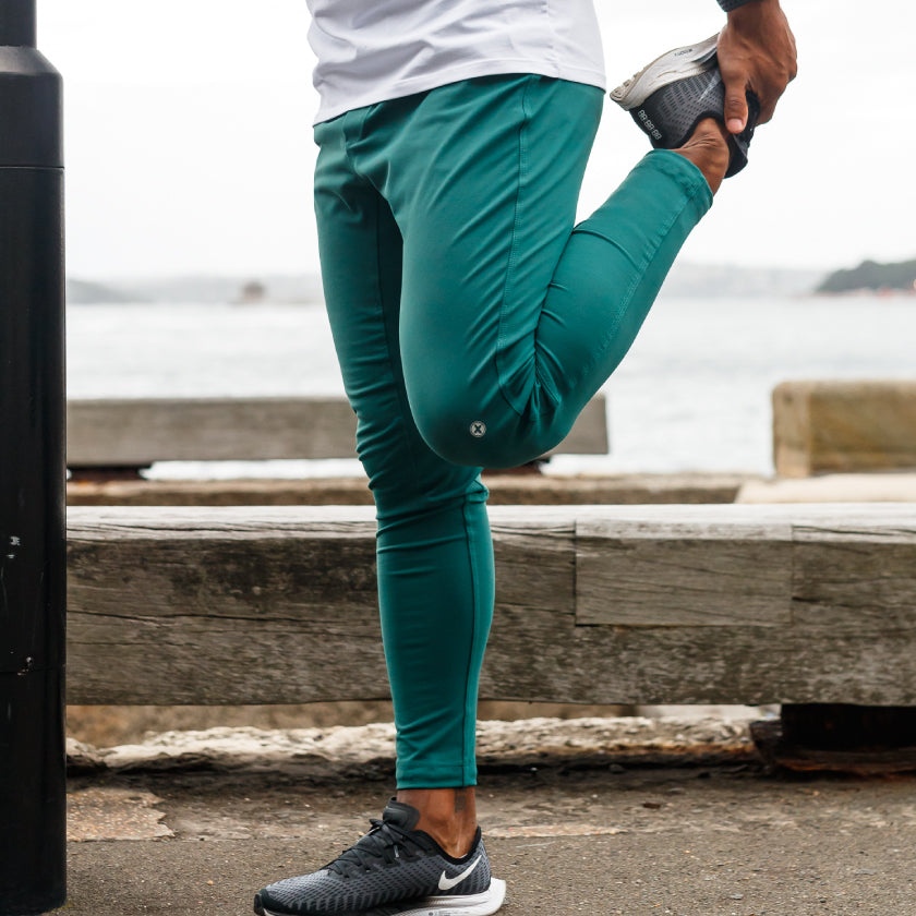 Gym plus coffee shop joggers and shorts new season connect collection running joggers in green stretch work out
