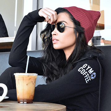 Gym+Coffee Women's Jet Black Zip Hoodie and Iced Coffee