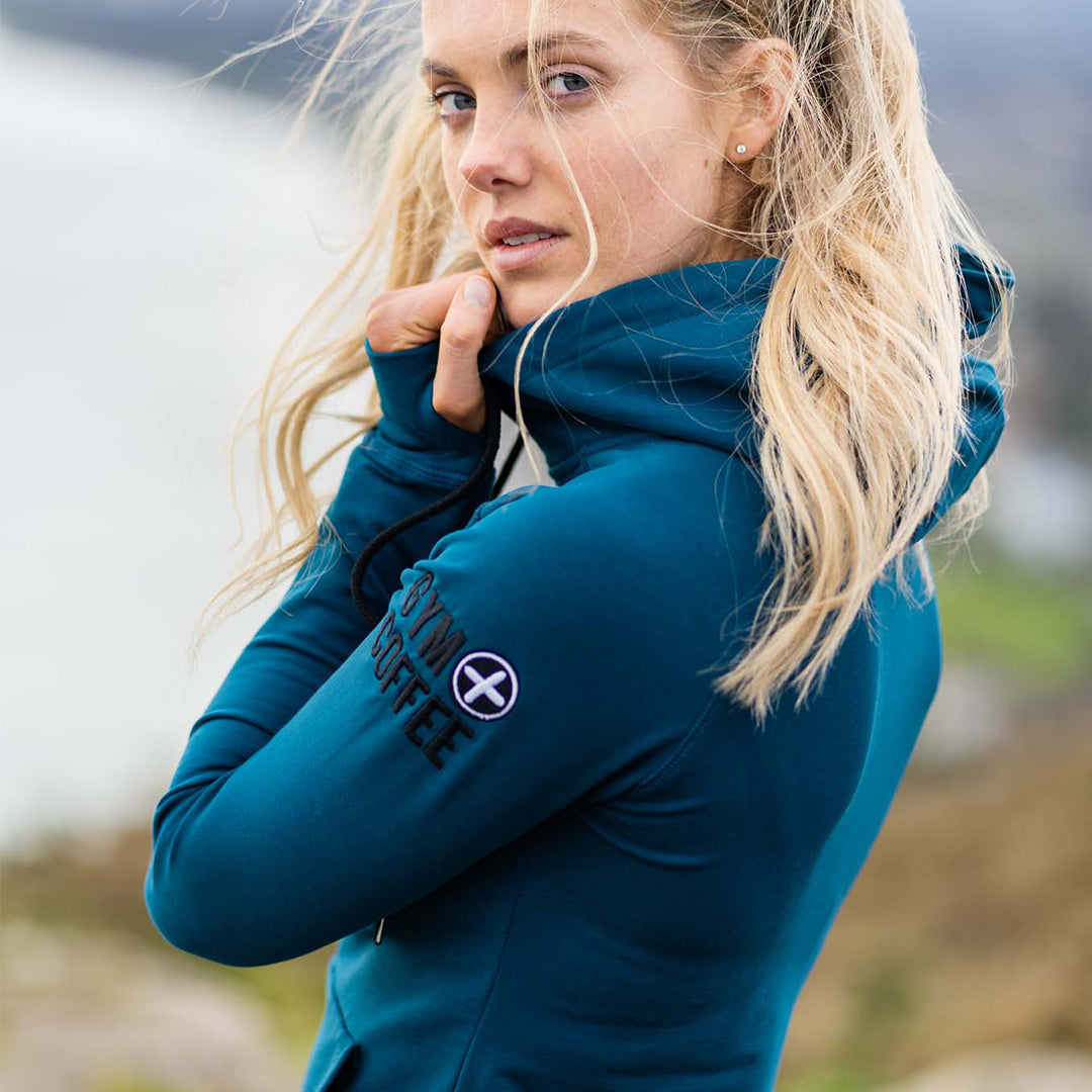 Gym+Coffee Women's Petrol Blue Half-Zip Hoodie