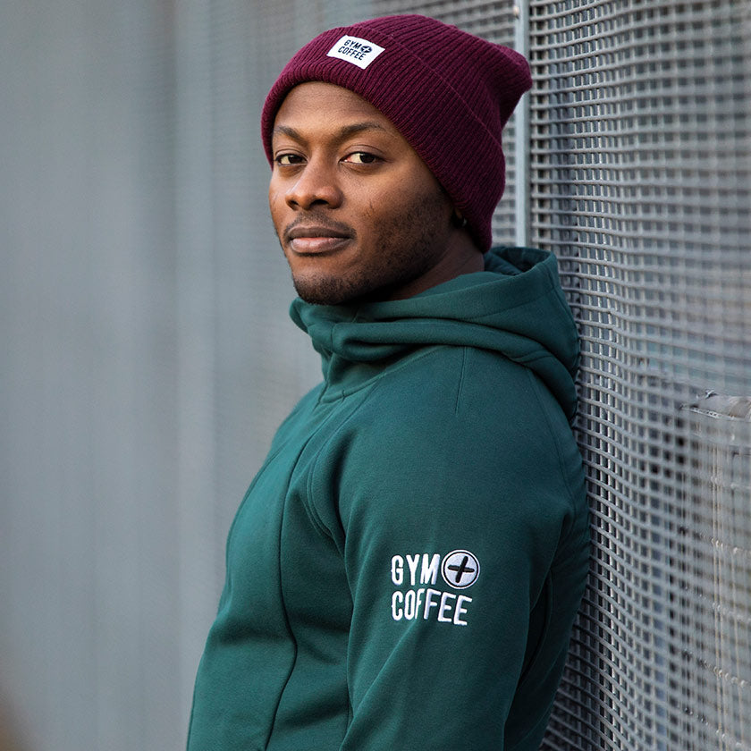 Gym plus coffee shop mens hoodies new Sierra fleece hoodie in moss green and Burgundy beanie