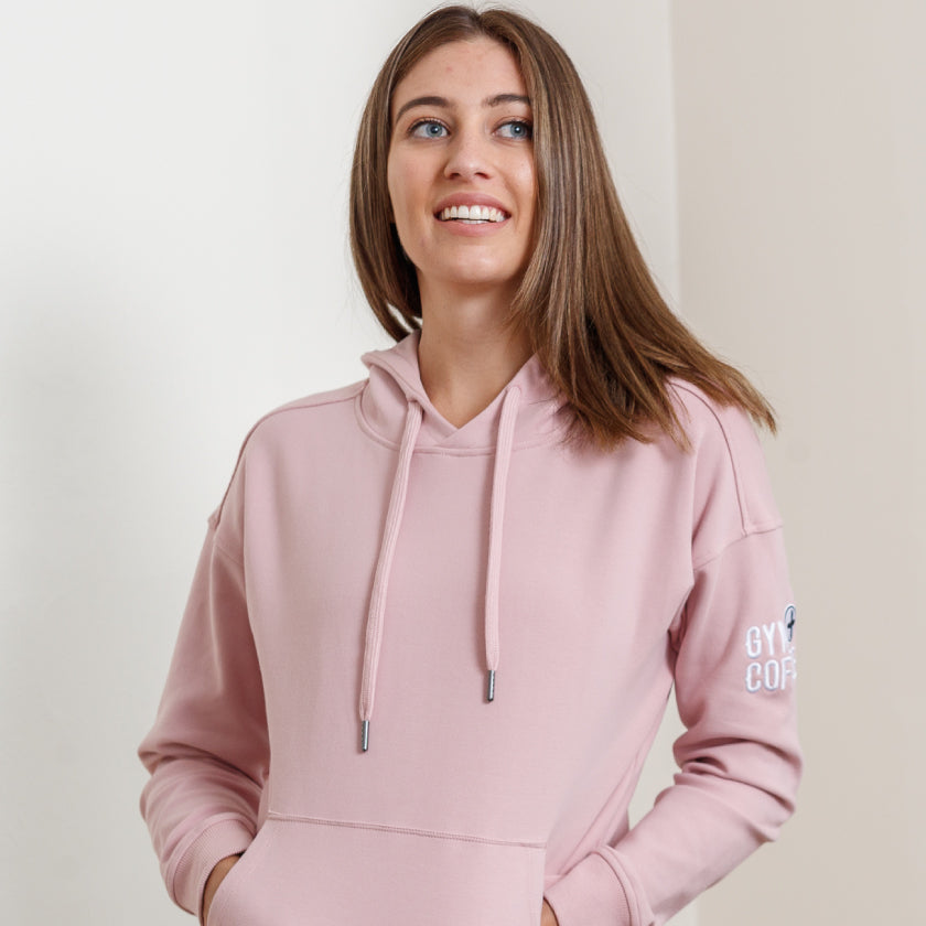 Gym plus coffee shop women's hoodies in dusty pink new ss21 colour