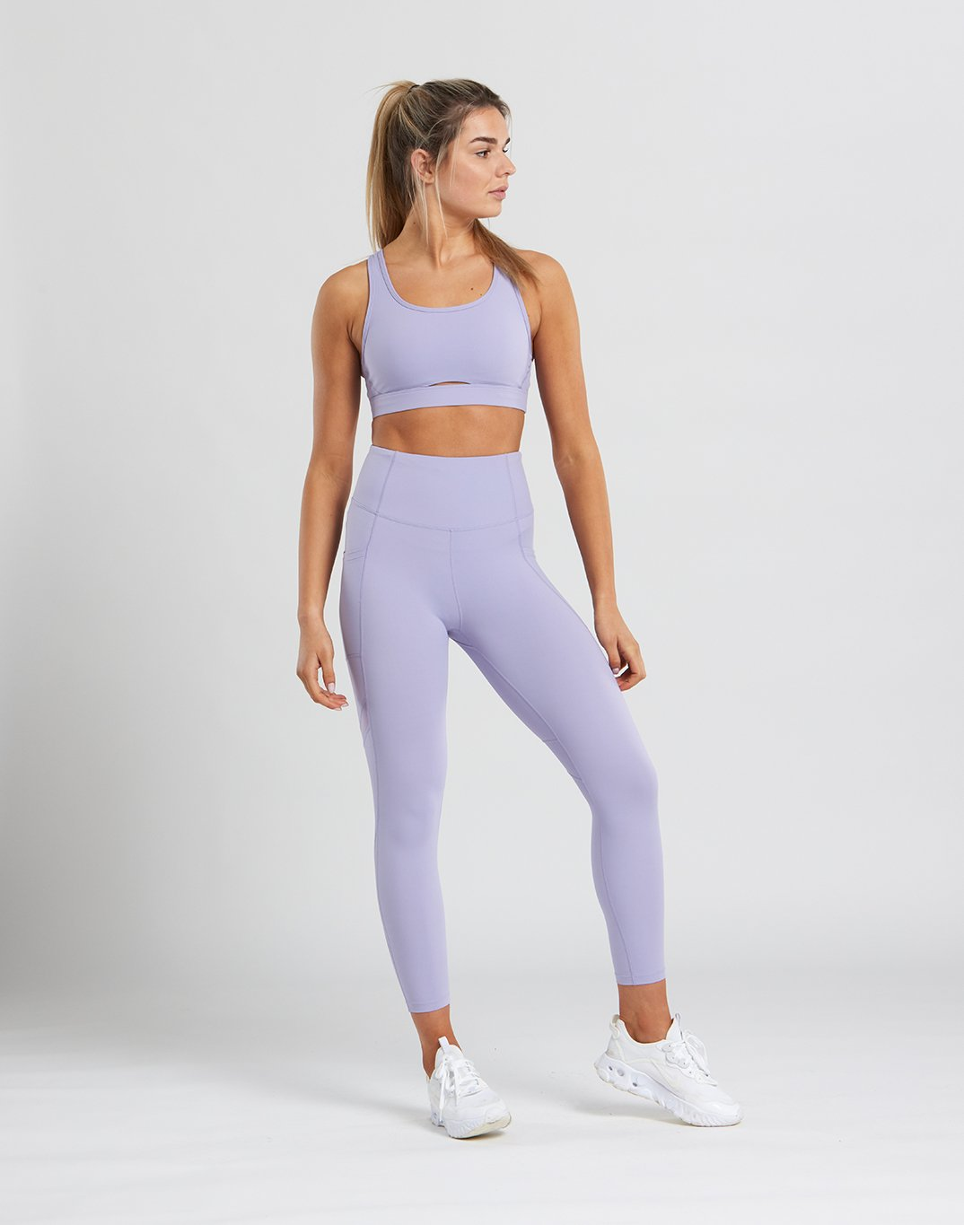 Gym Plus Coffee Leggings Womens Swift Mesh Leggings in Desert Lilac Designed in Ireland