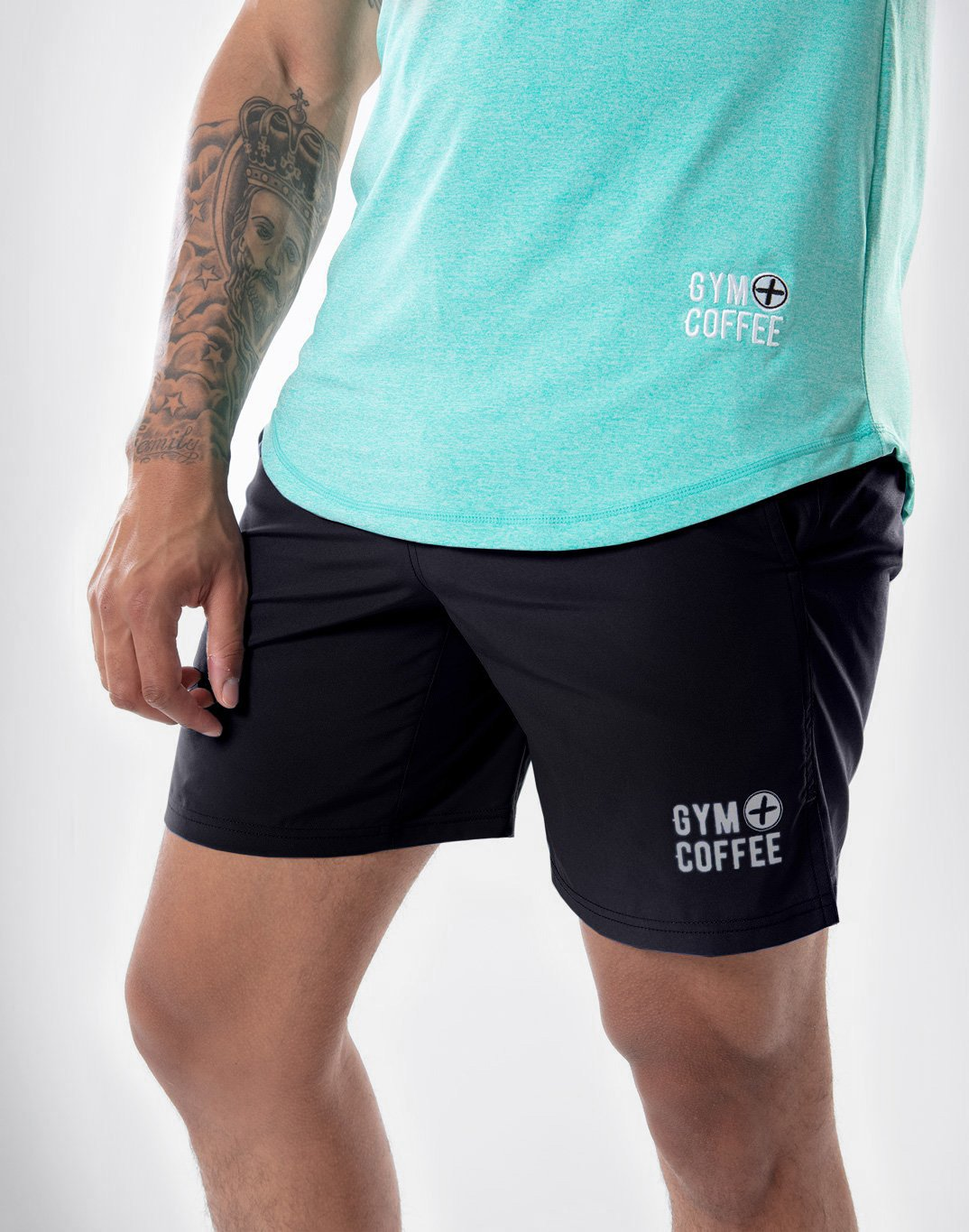 "Gym Plus Coffee Shorts Daybreak Shorts 7"" in Black Designed in Ireland"