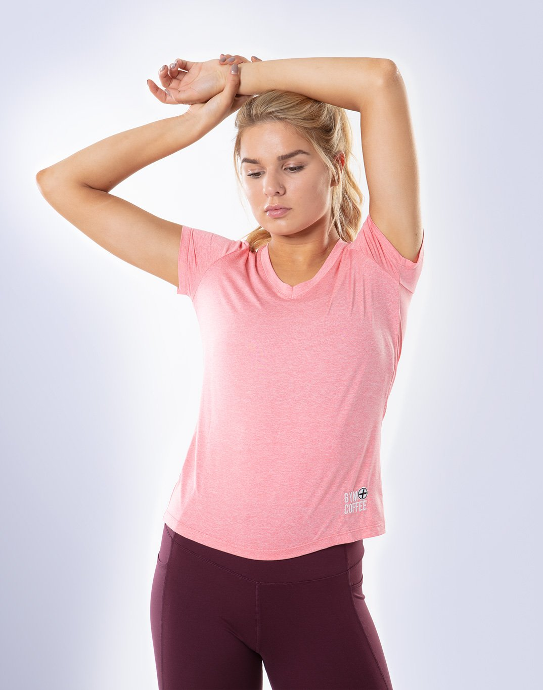 Gym Plus Coffee T-Shirt Raglan V-Tech Tee in Peach Designed in Ireland
