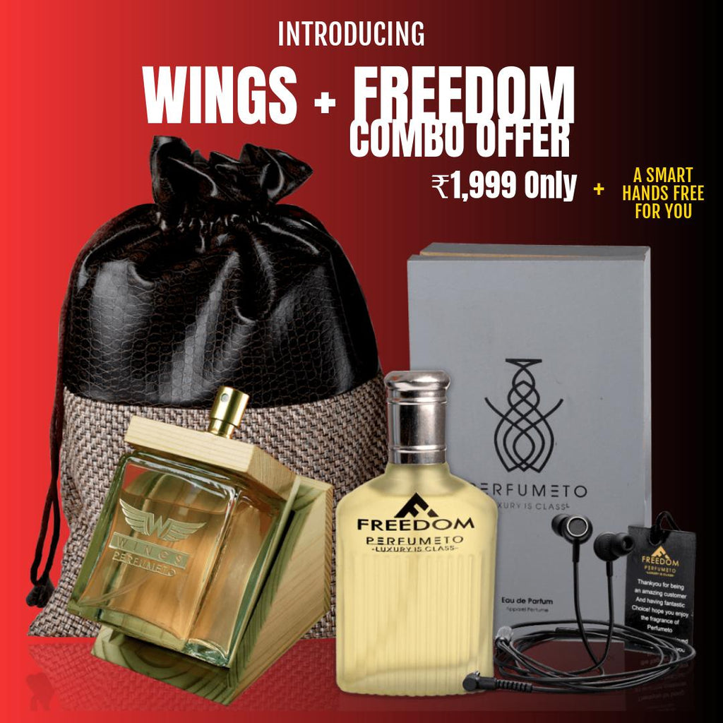 SPECIAL COMBO OFFER: WINGS: (120ml EDP) Manly Perfume + FREEDOM (100ml EDP) Masculine Perfume + A Smart Handsfree FREE <p style=