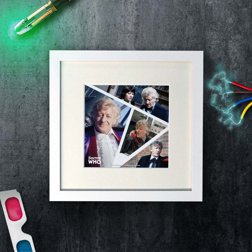 Third Doctor Photographic Square White Framed Art Print (Lifestyle)