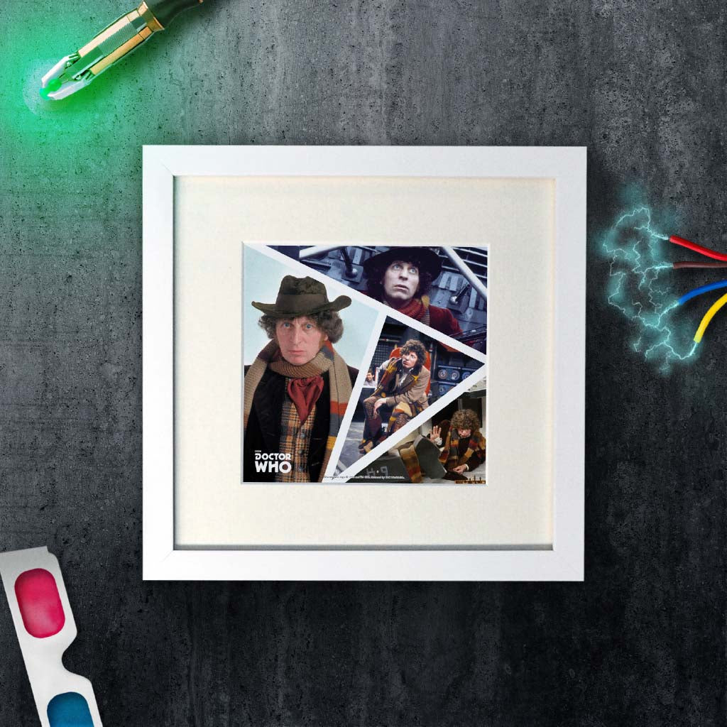 Fourth Doctor Photographic Square White Framed Art Print (Lifestyle)