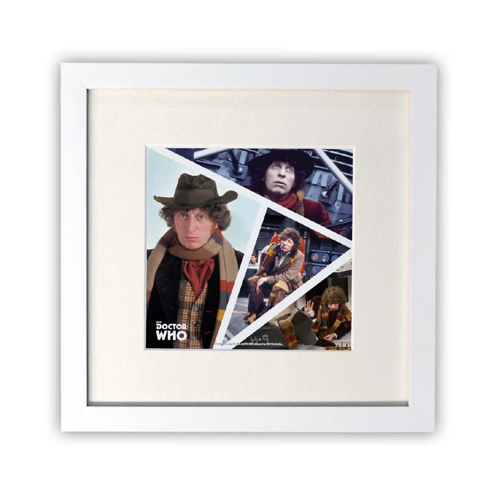 Fourth Doctor Photographic Square White Framed Print