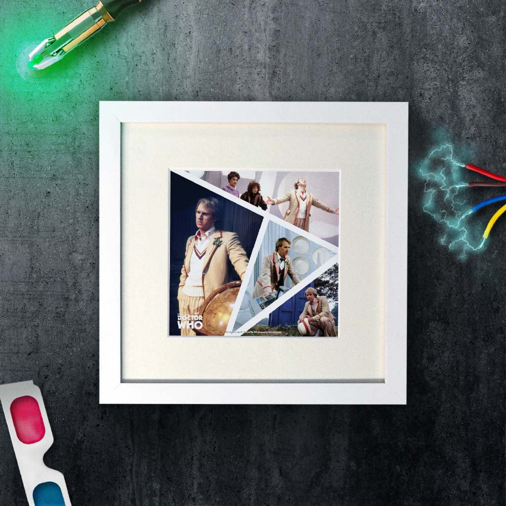 Fifth Doctor Photographic Square White Framed Art Print (Lifestyle)
