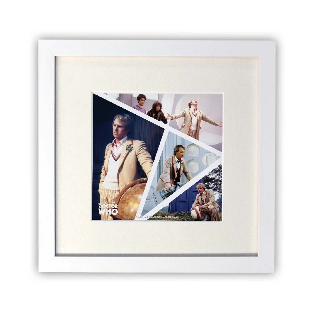 Fifth Doctor Photographic Square White Framed Print