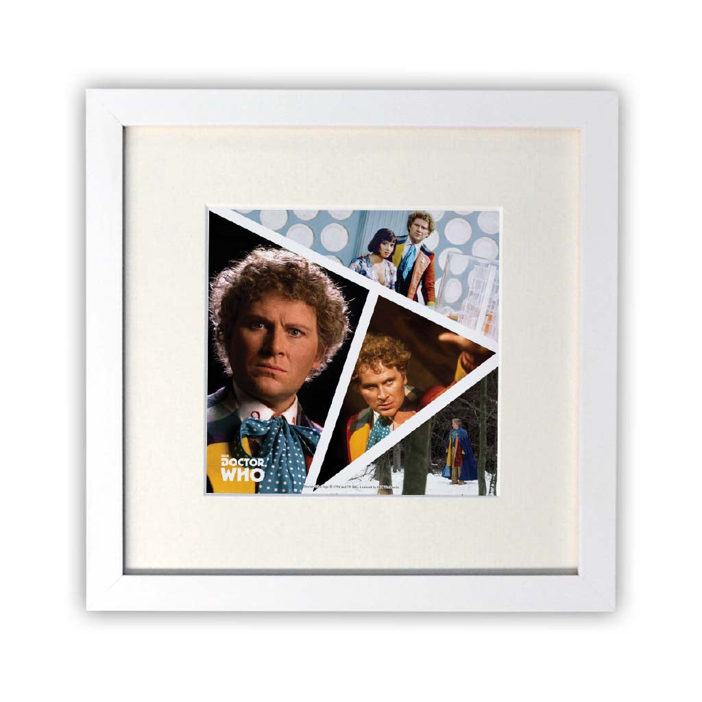 Sixth Doctor Photographic Square White Framed Print