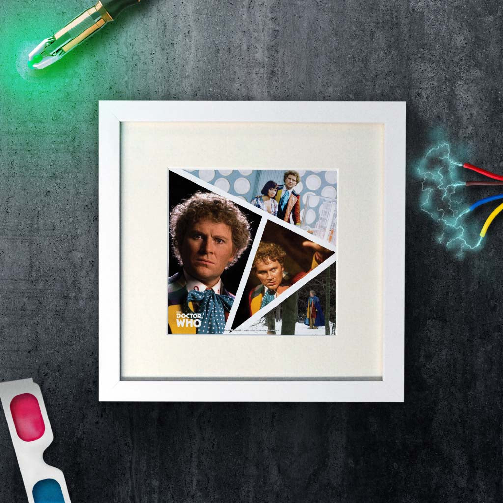 Sixth Doctor Photographic Square White Framed Art Print (Lifestyle)