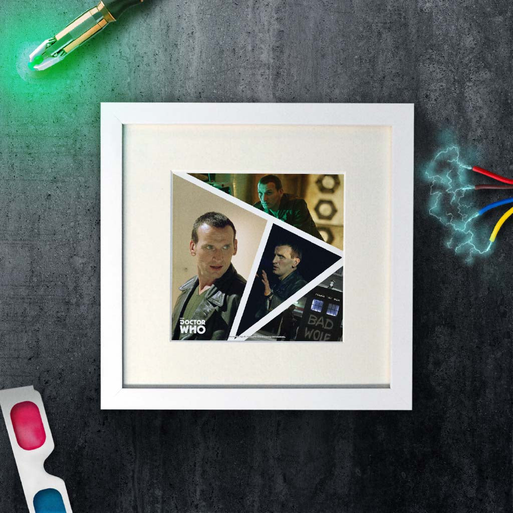 Ninth Doctor Photographic Square White Framed Art Print (Lifestyle)